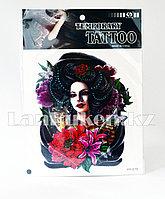 Временная татуировка Temporary tattoo девушка с розой в волосах и котом HY-019 18.5 х 26.2 см цветная