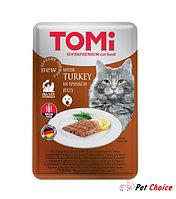 TOMI консервы для кошек-пауч GF c индейкой в желе из шпината 100 гр.