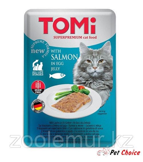 TOMI консервы для кошек-пауч GF c лососем в яичном желе 100 гр.