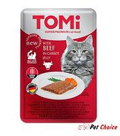TOMI консервы для кошек-пауч GF c говядиной в морковном желе 100 гр.