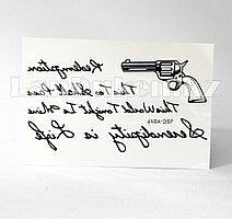Временная татуировка JSC 3D tattoo stickers тату надписи с револьвером Y017 10.3х18.2см черный