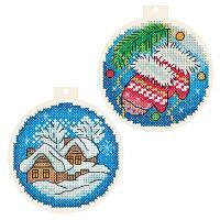 """Набор для вышивания крестом """"Новогодние шарики"""""""