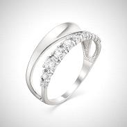 Кольцо ЮЗ ВЕРОНИКА серебро с родием, фианит, дорожка К630-1117