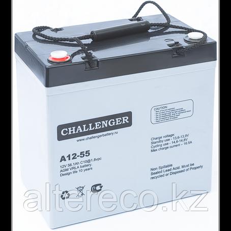 Аккумулятор Challenger A12-55A (12В, 55Ач), фото 2