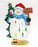 Картонный снеговик-пазл, фанера, 27 см, фото 1