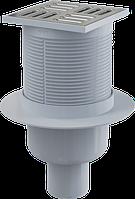 Сливной трап 105×105/50 мм прямой сток, решетка из нержавеющей стали ALCAPLAST APV2