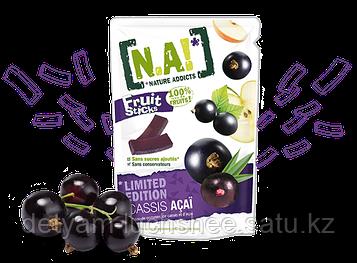Безглютеновые органическме фруктовые полоски Чёрная смородина и Асаи,35 грамм