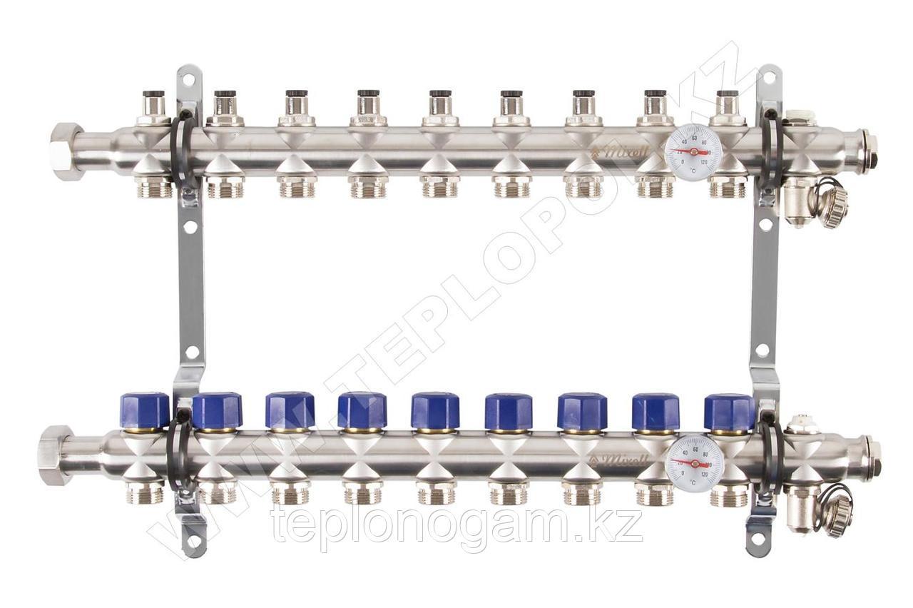 Распределительный коллектор Mixell из нержавеющей стали, 9 контуров