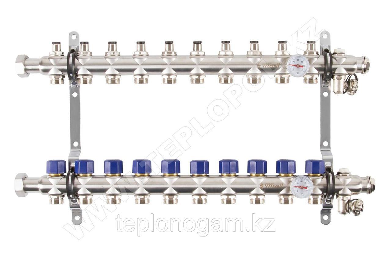 Распределительный коллектор Mixell из нержавеющей стали, 10 контуров