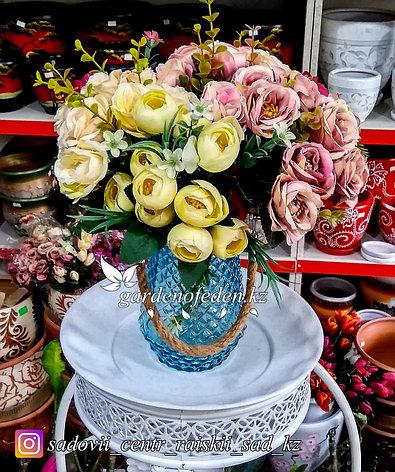 Стеклянная, декоративная ваза с ремешком. Цвет: Синий.  Высота 20см., фото 2