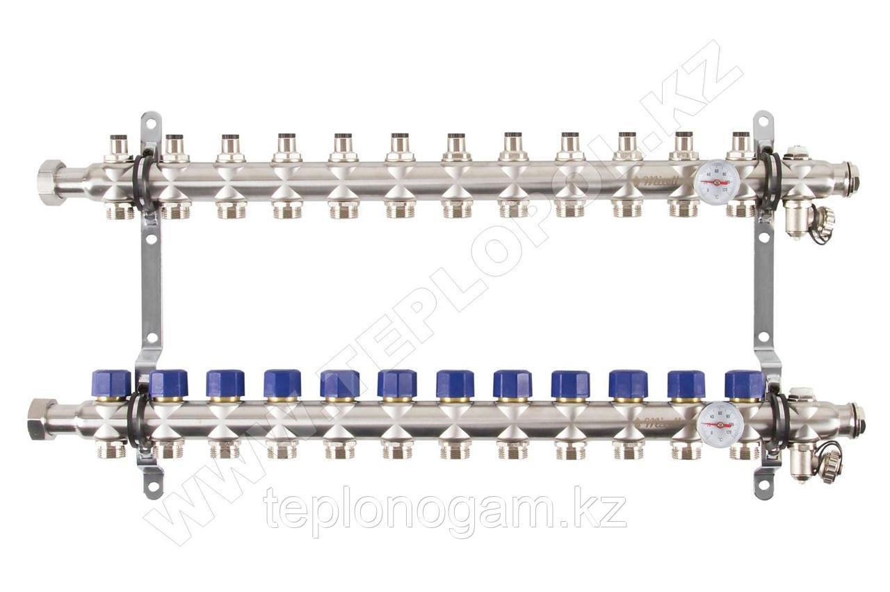 Распределительный коллектор Mixell из нержавеющей стали, 12 контуров