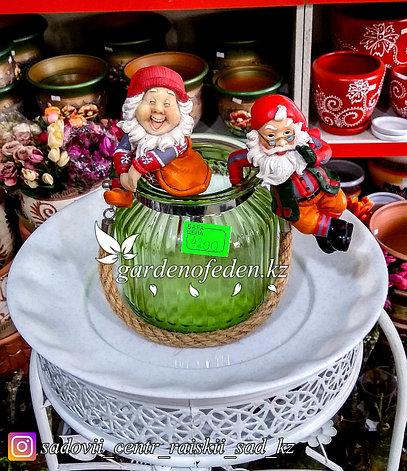 Стеклянная, декоративная ваза с ремешком. Цвет: Зеленый.  Высота 15см., фото 2