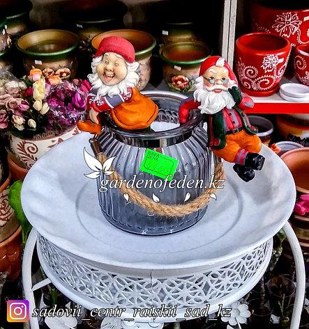 Стеклянная, декоративная ваза с ремешком. Цвет: Серый. Высота 15см., фото 2