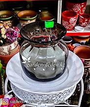 Стеклянная, декоративная ваза. Высота 20см. Цвет: Черный.