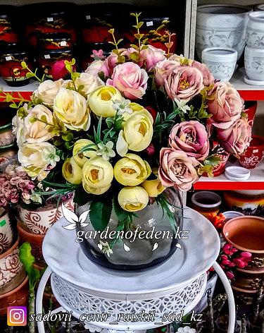 Стеклянная, декоративная ваза. Высота 20см. Цвет: Черный., фото 2