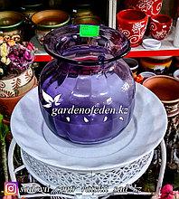 Стеклянная, декоративная ваза. Высота 20см. Цвет: Фиолетовый.