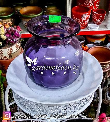 Стеклянная, декоративная ваза. Высота 20см. Цвет: Фиолетовый., фото 2