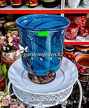 Стеклянная, декоративная ваза. Высота 30см. Цвет: Синий. Узор в полоску.