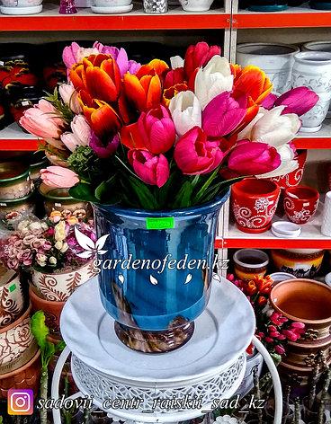 Стеклянная, декоративная ваза. Высота 30см. Цвет: Синий. Узор в полоску., фото 2