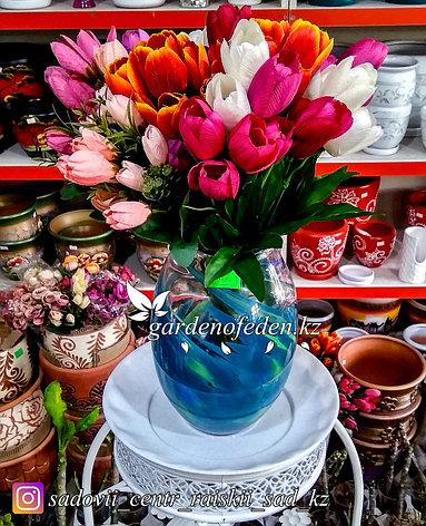 Стеклянная, декоративная ваза. Высота 30см. Цвет: Синий. Абстрактный узор в полоску., фото 2