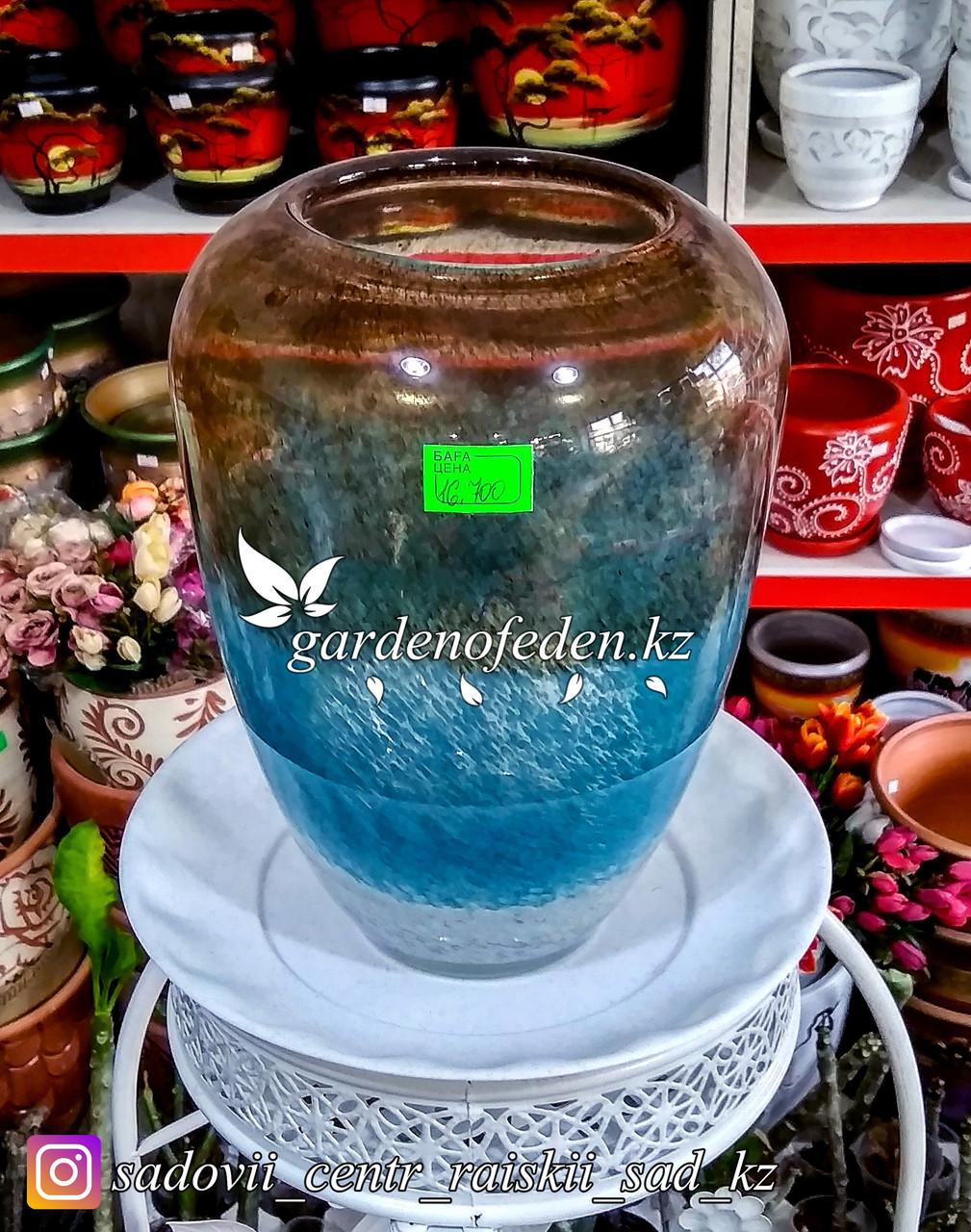 Стеклянная, декоративная ваза. Высота 30см. Цвет: Коричнево-синий. Водяной узор.