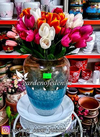Стеклянная, декоративная ваза. Высота 30см. Цвет: Коричнево-синий. Водяной узор., фото 2