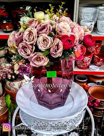 Стеклянная, декоративная ваза в форме ромба. Высота 20см. Цвет: Розовый., фото 2