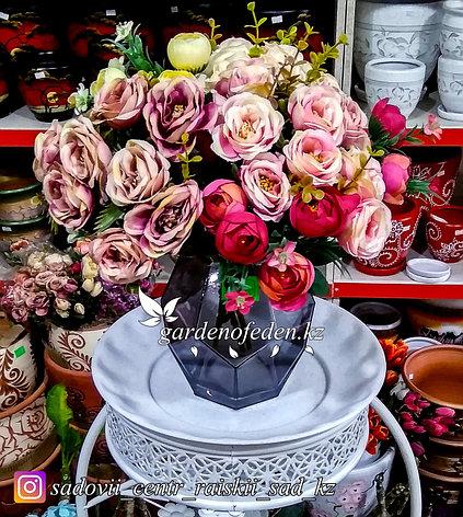 Стеклянная, декоративная ваза в форме ромба. Высота 15см. Цвет: Темно-синий., фото 2