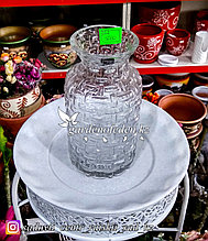 Стеклянная, декоративная ваза. Высота 20см. Цвет: Прозрачный.