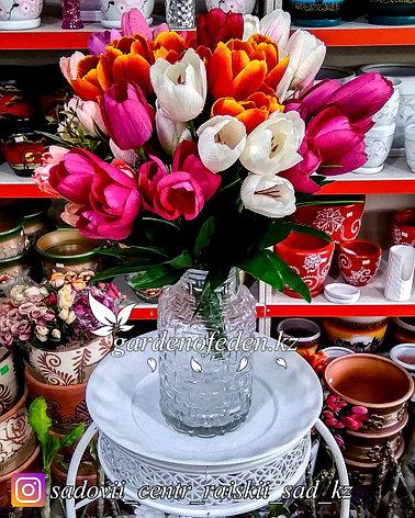 Стеклянная, декоративная ваза. Высота 20см. Цвет: Прозрачный., фото 2
