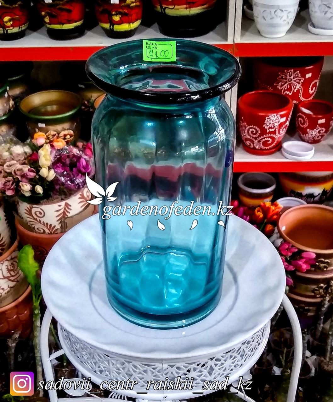 Стеклянная, декоративная ваза. Высота 30см. Цвет: Синий.