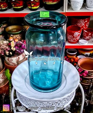 Стеклянная, декоративная ваза. Высота 30см. Цвет: Синий., фото 2
