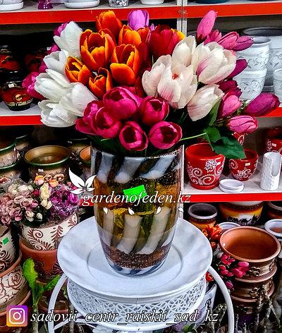 Стеклянная, декоративная ваза. Высота 30см. Цвет: Желтый. Узор в тигриную полоску., фото 2