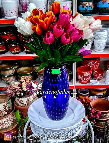 Стеклянная, декоративная ваза. Высота 30см. Цвет: Синий. Узор пятнышки и полоски., фото 2