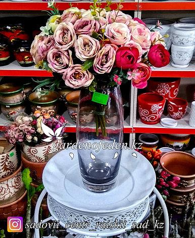 Стеклянная, декоративная ваза. Высота 30см. Цвет: Черный., фото 2