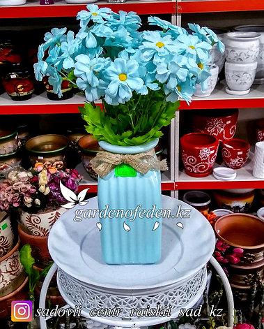 Стеклянная, декоративная ваза. Высота 20см. Цвет: Голубой., фото 2