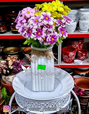 Стеклянная, декоративная ваза. Высота 20см. Цвет: Белый., фото 2