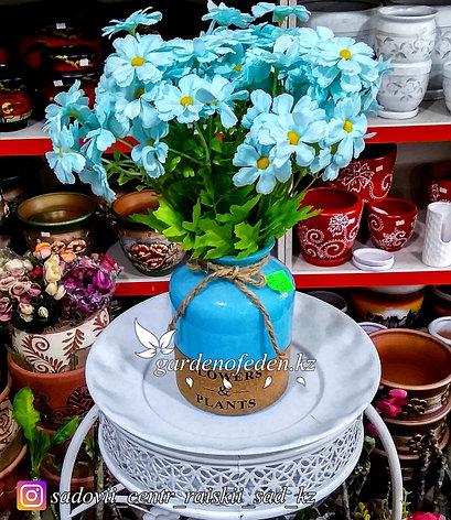 Стеклянная, декоративная ваза. Высота 15см. Цвет: Голубой., фото 2