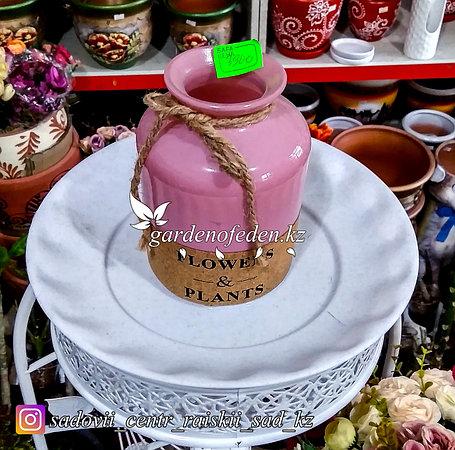 Стеклянная, декоративная ваза. Высота 15см. Цвет: Розовый., фото 2