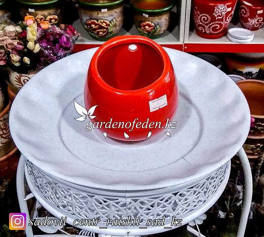 Подвесной керамический горшок. Высота 10см. Цвет: Красный., фото 2