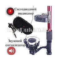 Звуковой сигнализатор поклёвки на удочку с индикатором и креплением-прищепкой на батарейках LR44 6см в длину
