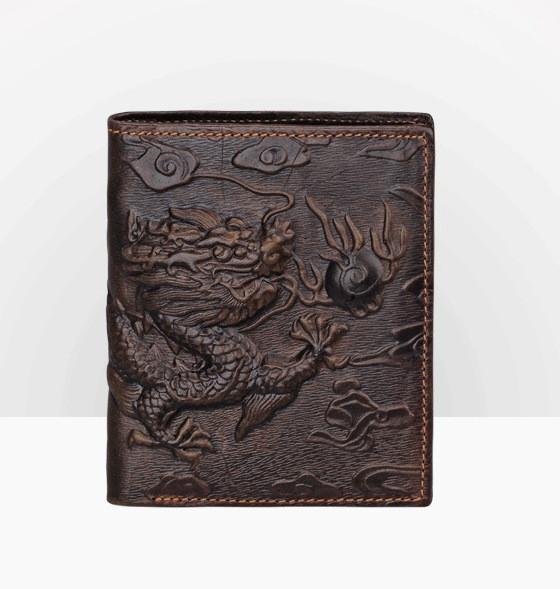 Кошелек Дракон из тисненой натуральной кожи - подарите брату
