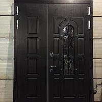 Дверь стальная со стеклопакетом и ковкой покрытие Винорит