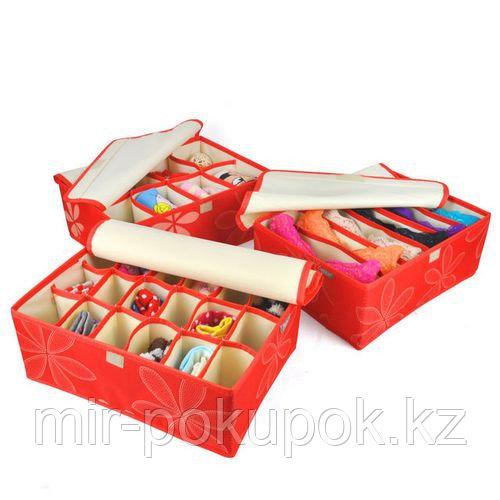 Набор органайзеров для нижнего белья с крышками красного цвета (№90), Алматы