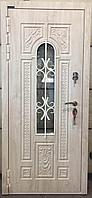 Дверь стальная со стеклопакетом и ковкой с влагостойким МДФ и покрытием Винорит
