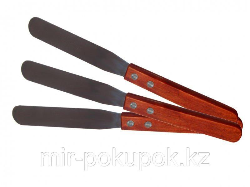 Шпатель металлический для шугаринга (сахарной пасты) и воска с деревянной ручкой, Алматы