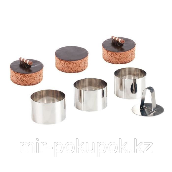 Набор кулинарных колец (3 штуки) + пресс