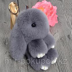 Зайчик-брелок из натурального меха (18*10) цвет-серый, Алматы
