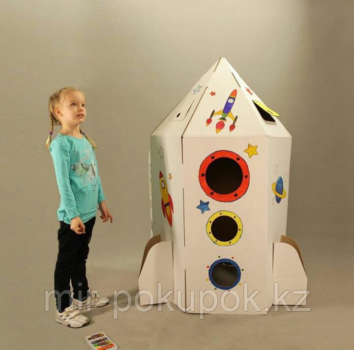 """Детский картонный домик для рисования """"Ракета"""""""