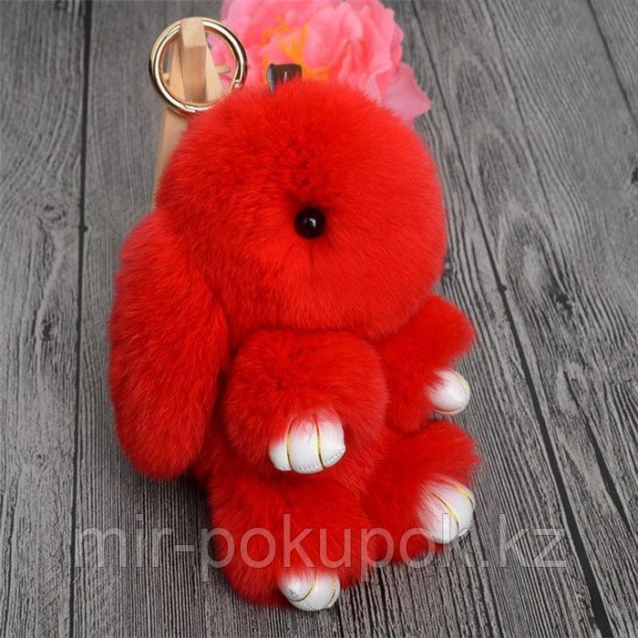 Зайчик-брелок из натурального меха (18*10) цвет-красный, Алматы